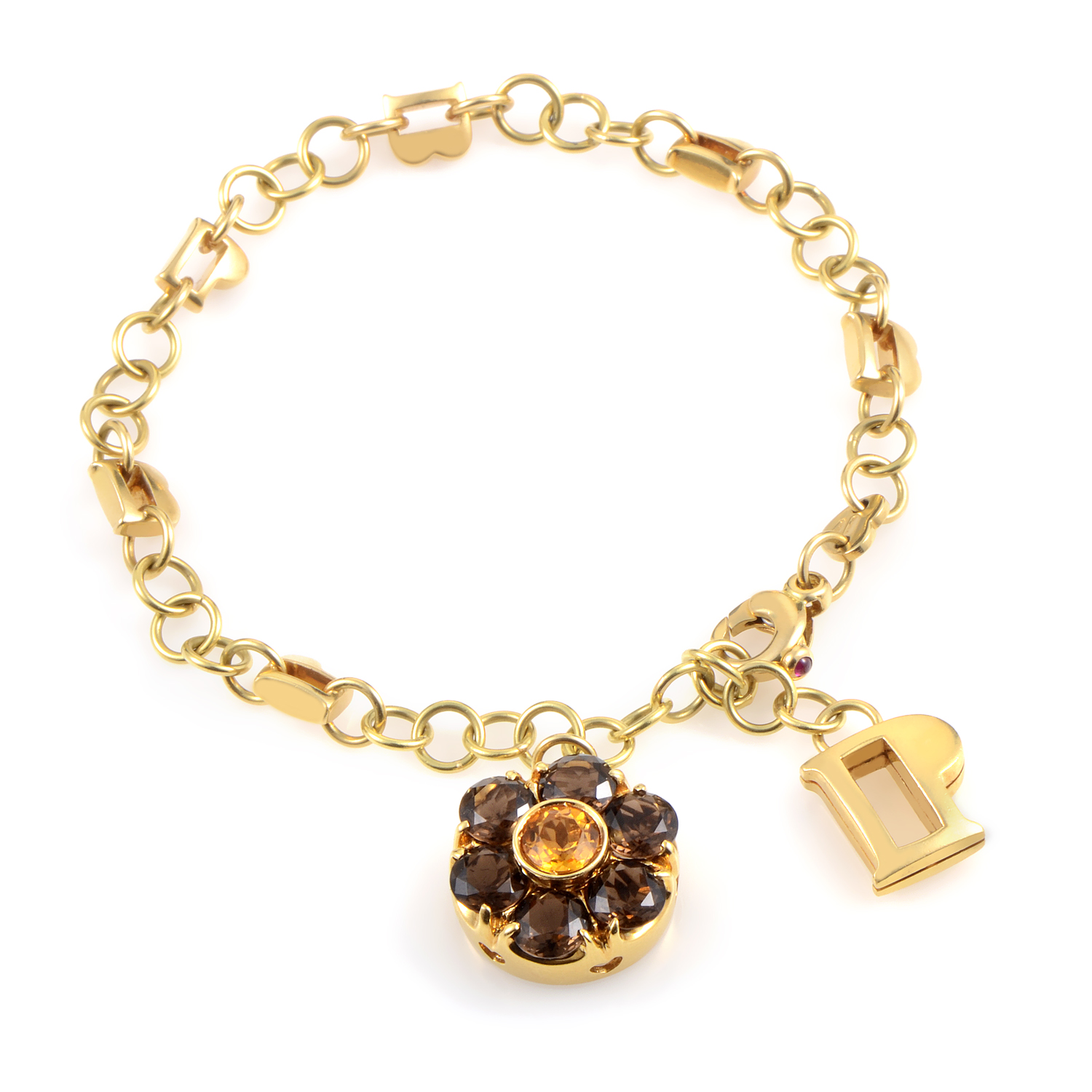 18K Yellow Gold Citrine & Smoky Quartz Floral Charm Bracelet