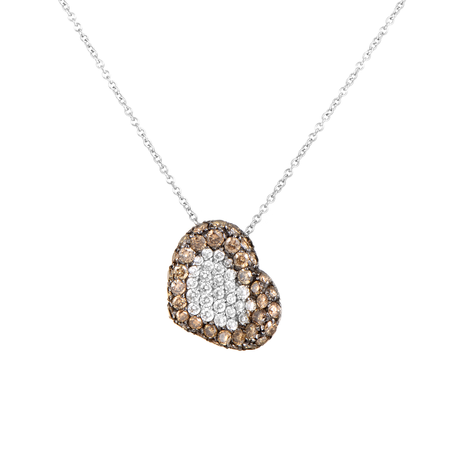 18K White Gold Brown & White Diamond Heart Pave Pendant Necklace