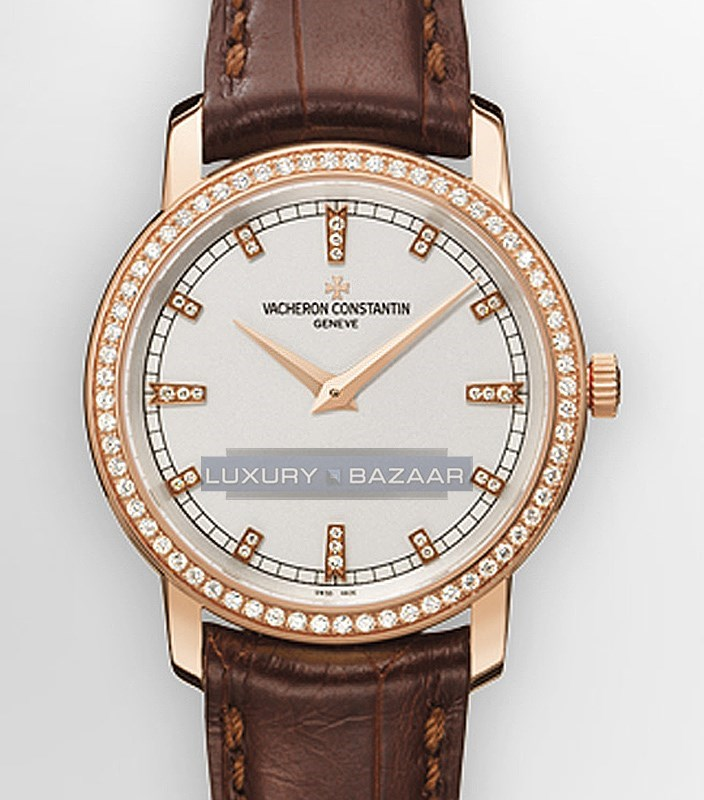 Patrimony Traditionnelle Small (PG-Diamond / White / Leather Strap)