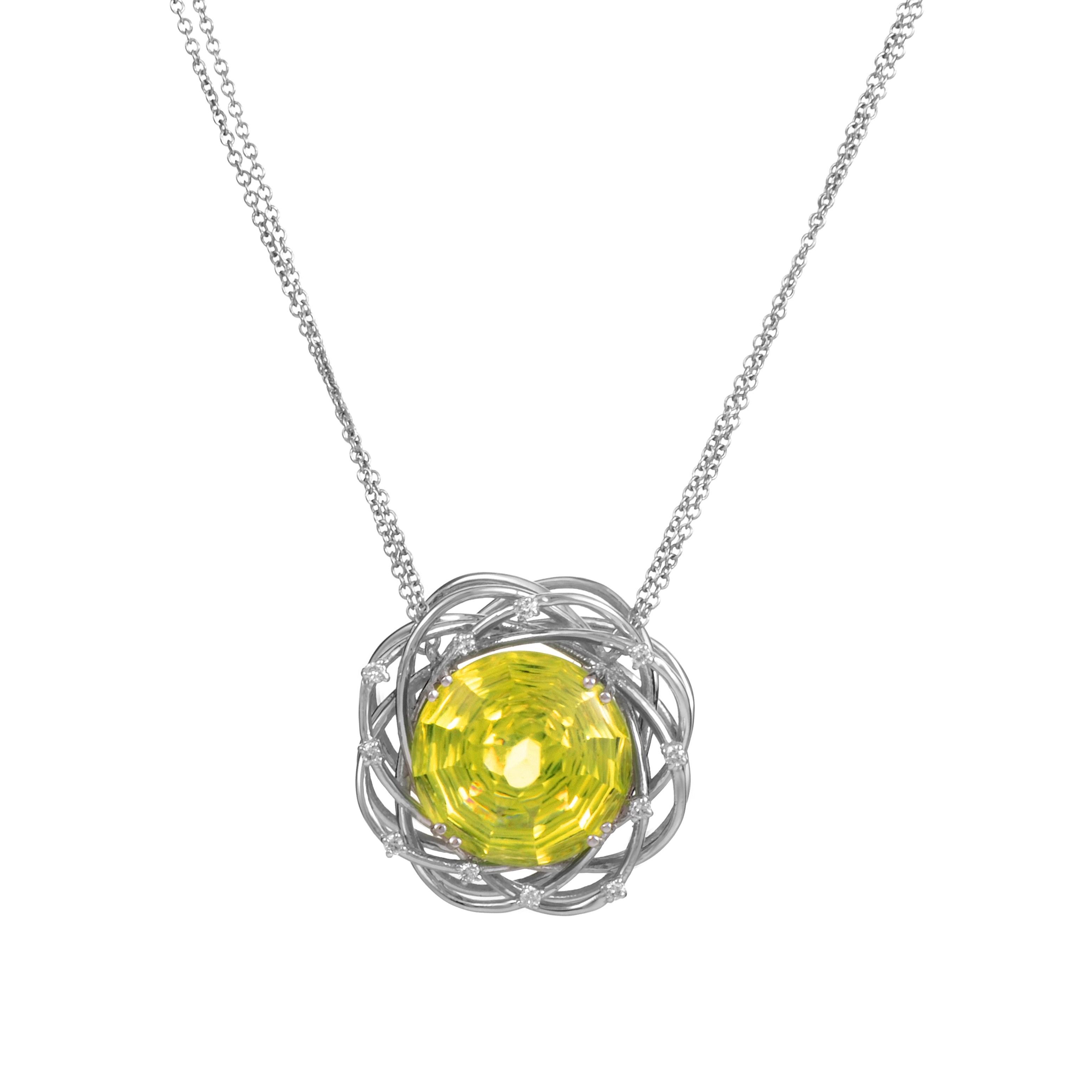 18K White Gold Lemon Quartz & Diamond Pendant Necklace