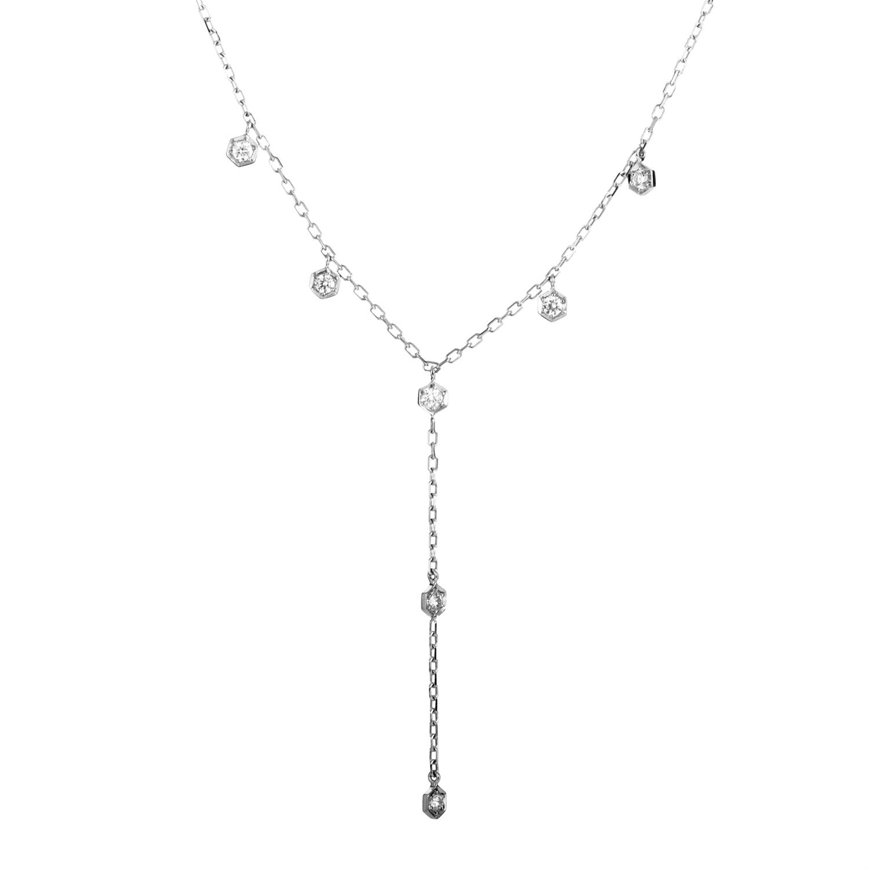 Women's 18K White Gold Diamond Drop Necklace AK1B1276