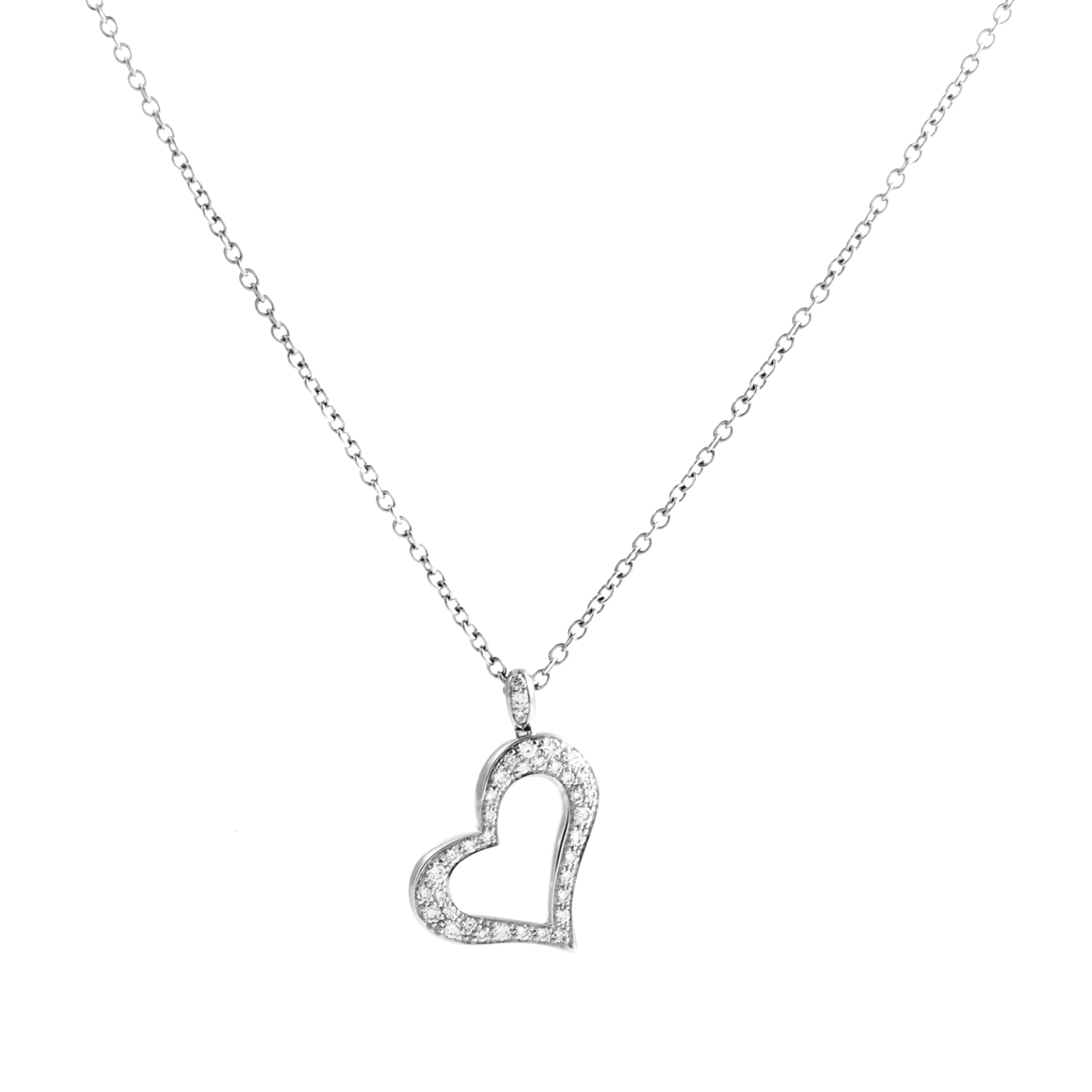 Piaget Women's 18K White Gold Diamond Pave Heart Pendant Necklace
