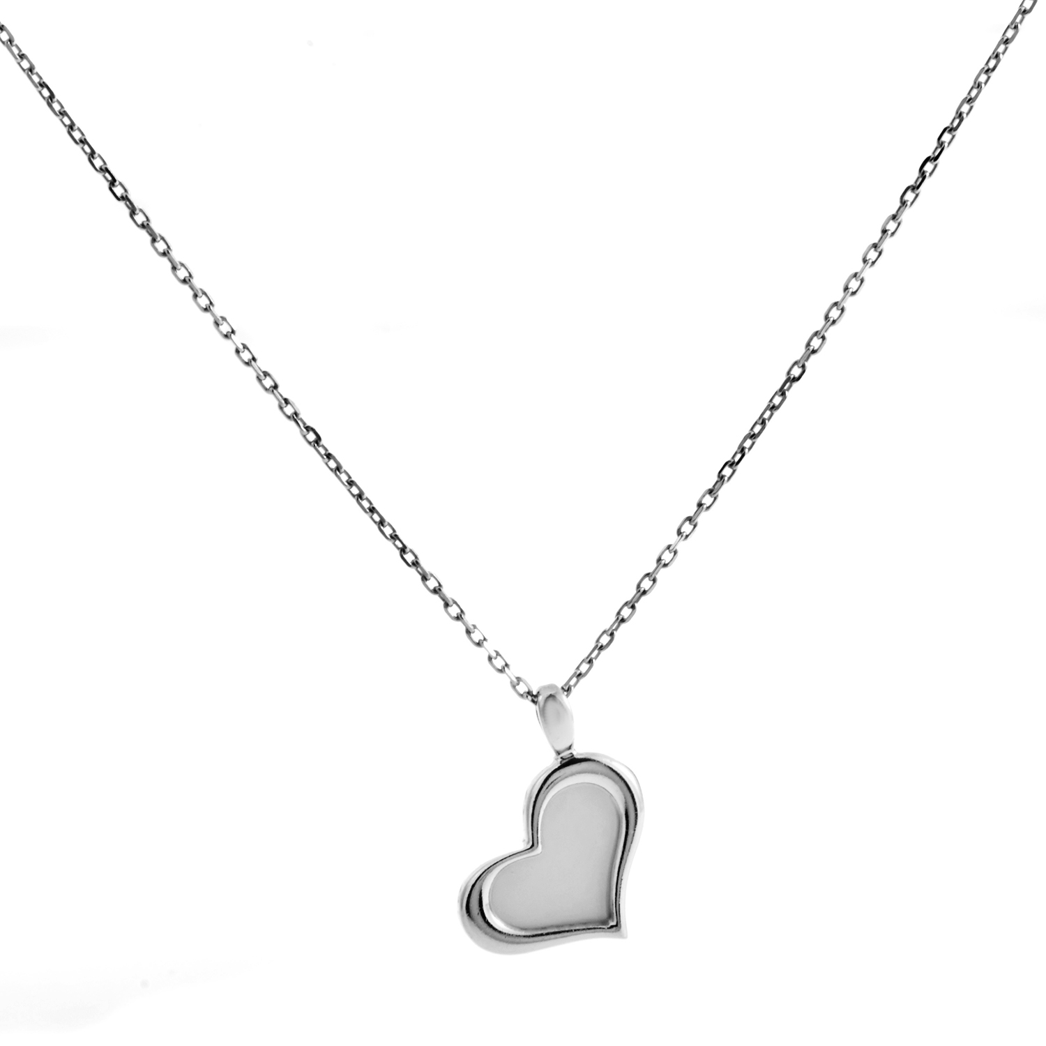 Piaget Women's 18K White Gold Mother of Pearl Heart Pendant Necklace
