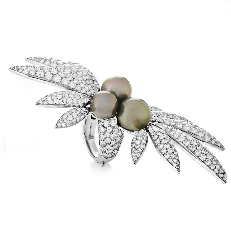 Picchiotti Women's 18K White Gold Diamond Pave & Black Tahitian Pearl Ring