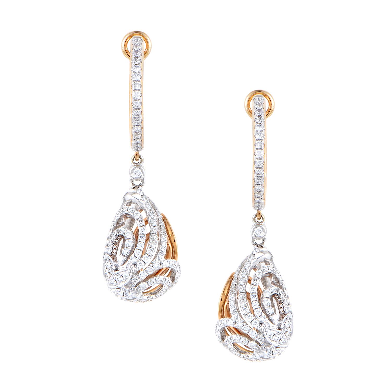 Women's 18K White & Rose Gold Diamond Pave Dangle Earrings 21907571