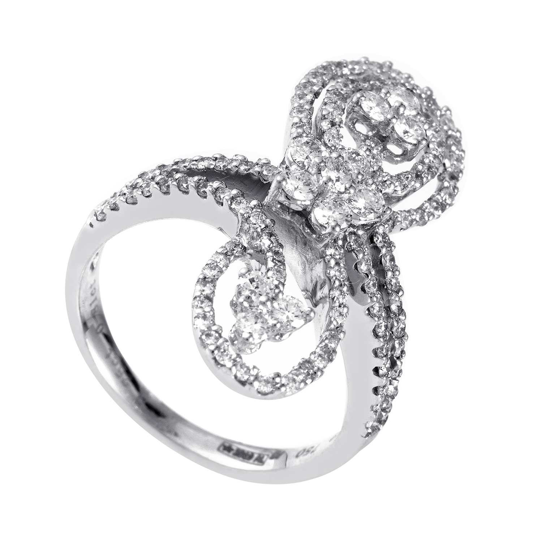 Women's 18K White Gold Diamond Spirals Ring 21615307