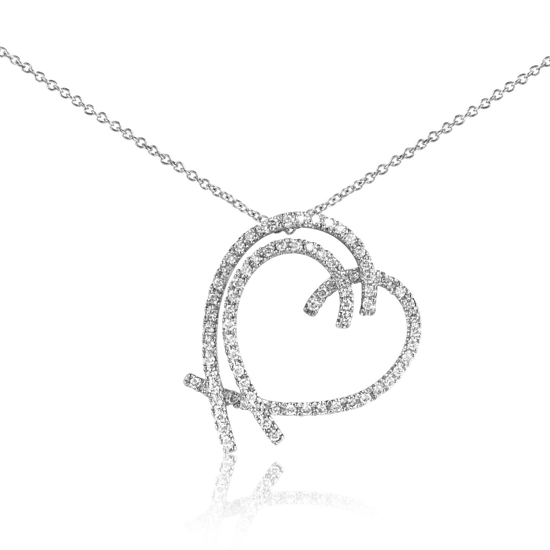 Women's 18K White Gold Diamond Bent Heart Pendant Necklace