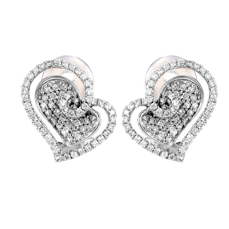 Women's 18K White Gold Diamond Pave Heart Earrings 21616016