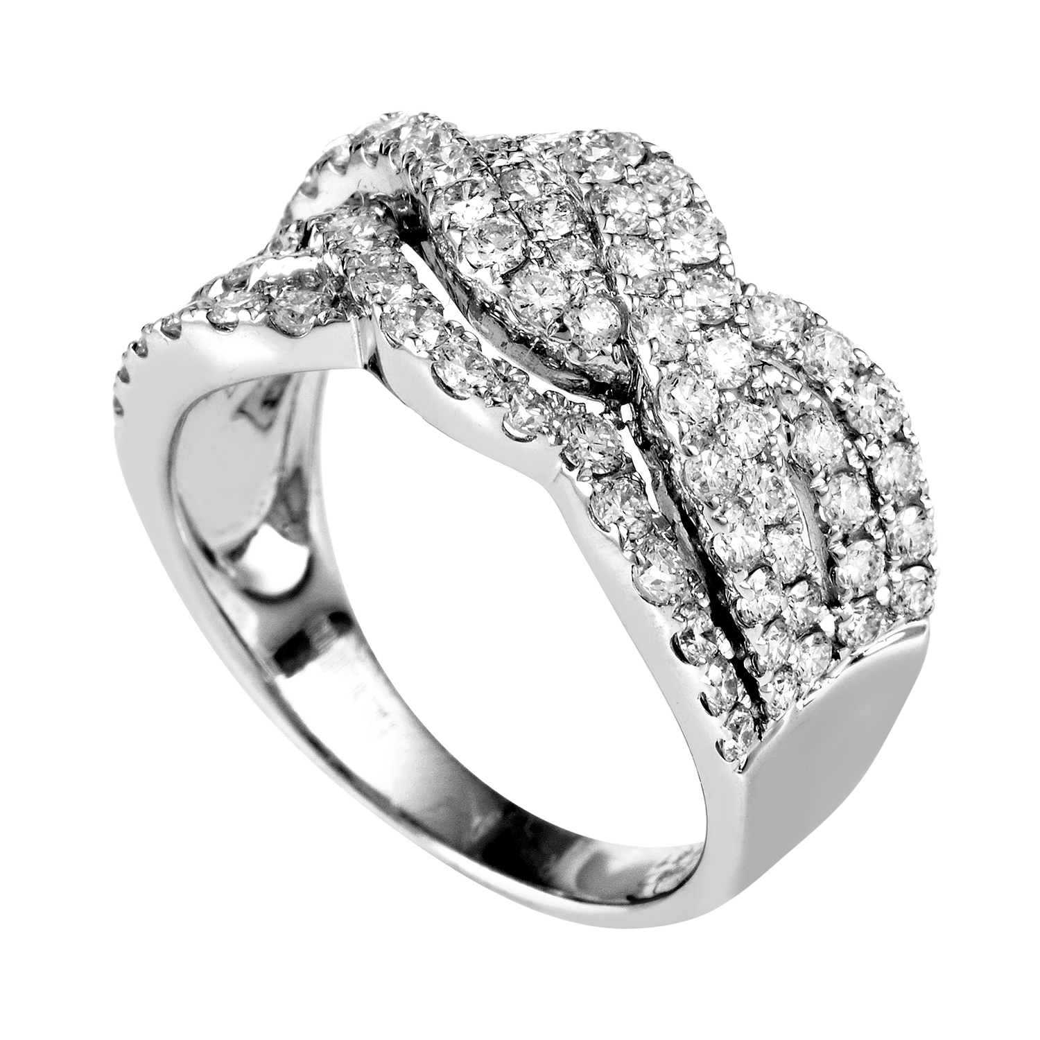 Women's 18K White Gold Diamond Pave Braided Band Ring 21907332