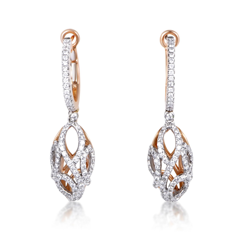Women's 18K Multi-Tone Gold Diamond Almond Drop Earrings