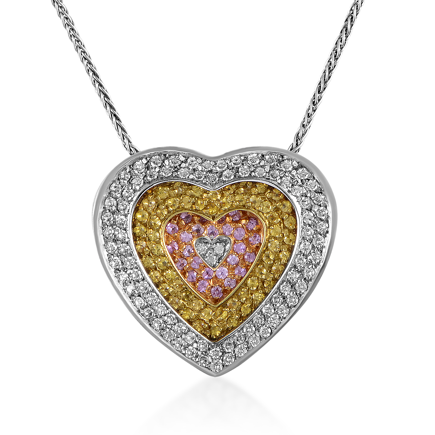 Women's 18K Tri-Gold Diamond & Sapphire Heart Pendant Necklace 160-001410