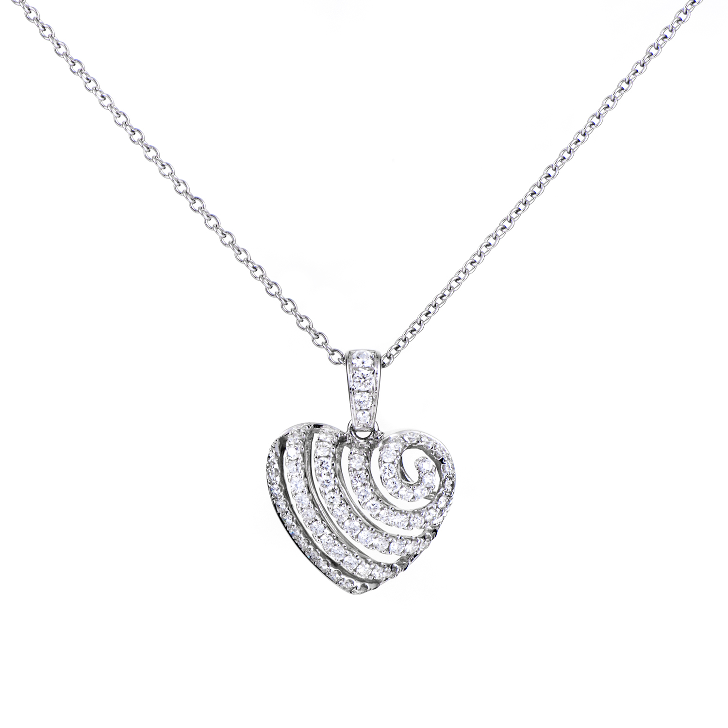 Women's 18K White Gold Diamond Ripple Heart Pendant Necklace