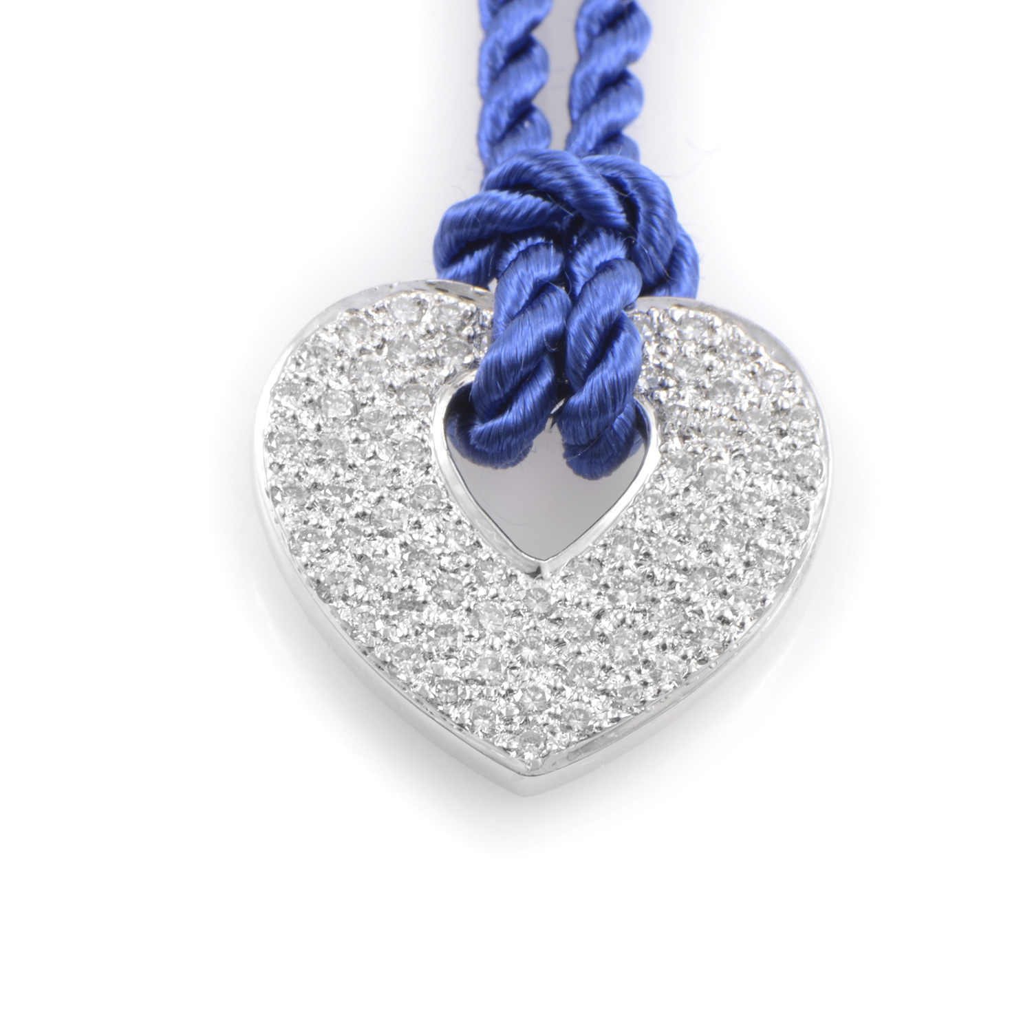 18K White Gold Diamond Pendant & Periwinkle Blue Cord Necklace PPC0030RBLU