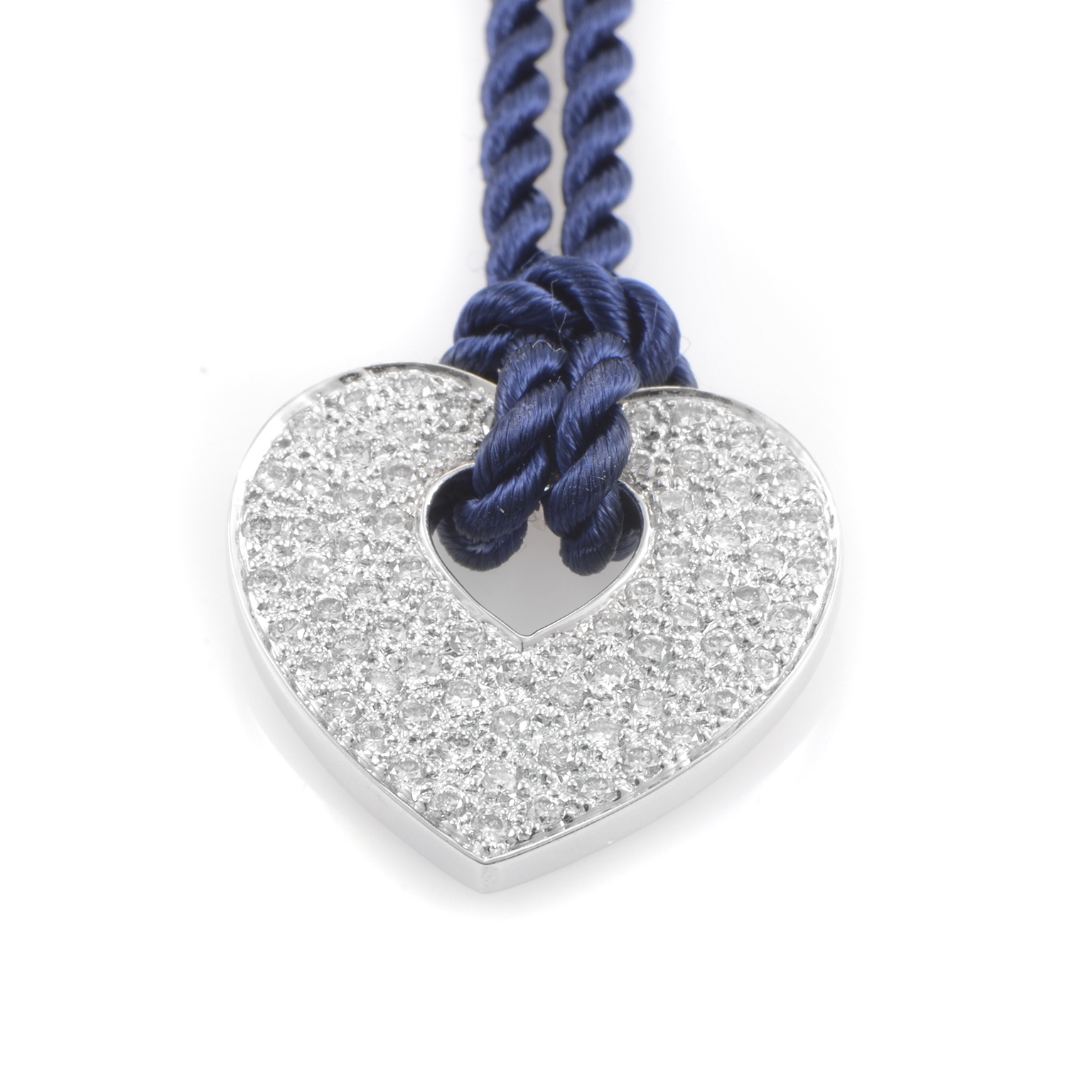 18K White Gold Diamond Pendant & Royal Blue Cord Necklace PPC0032BLK