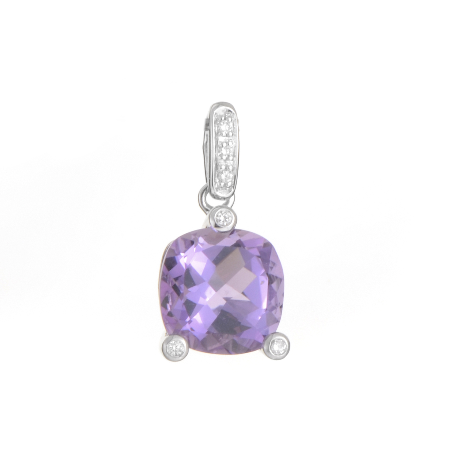 18K White Gold Amethyst & Diamond Pendant PPC2062
