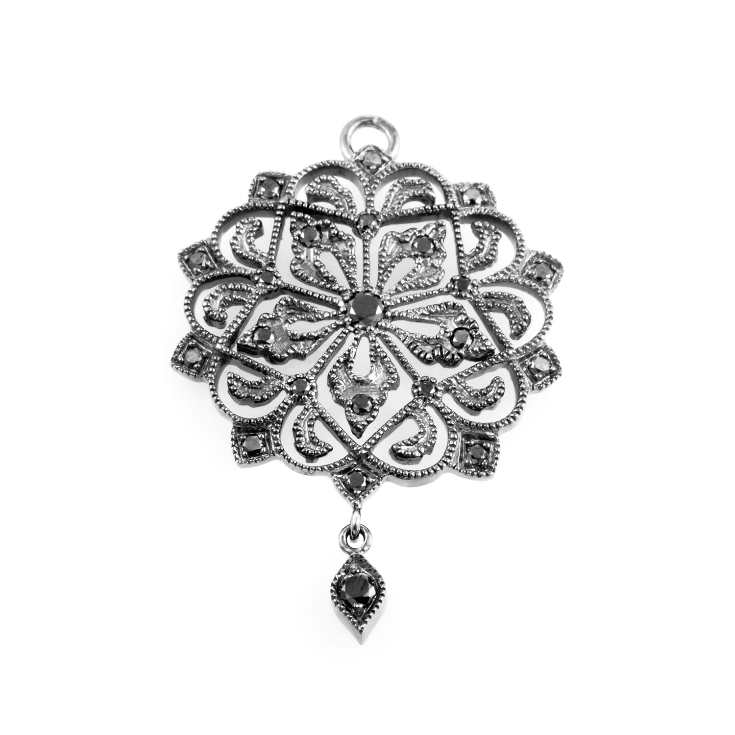 18K White Gold Black Diamond Pendant PPC6400