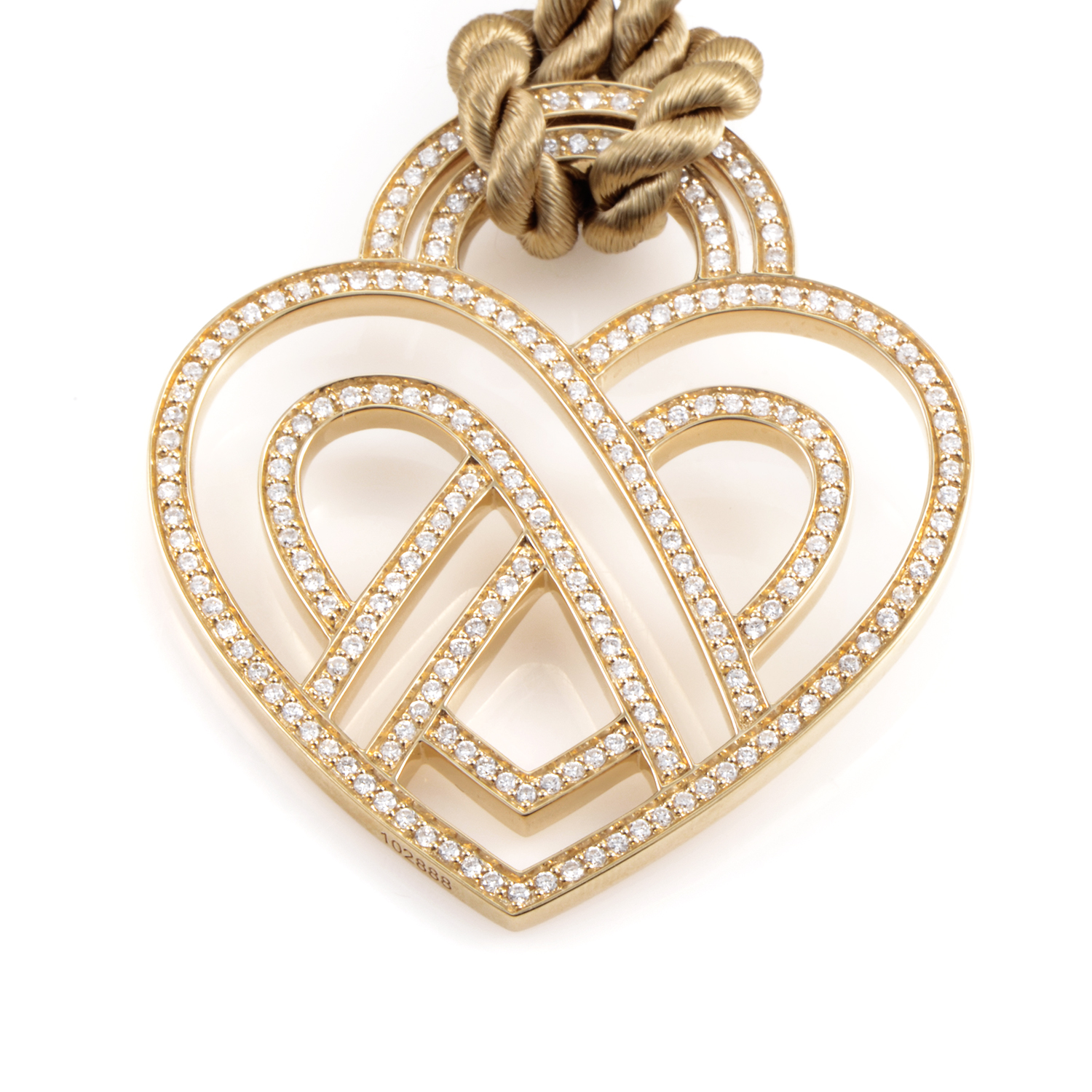 Wire Heart Framework 18K Yellow Gold Diamond Pendant & Cord Necklace