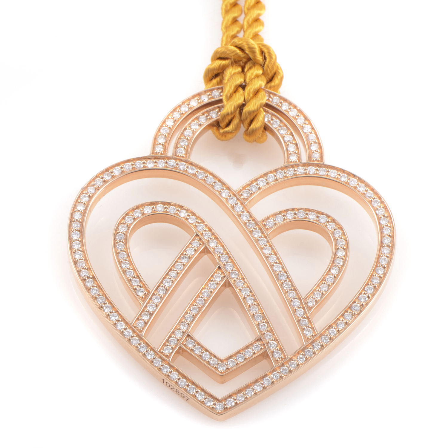 18K Rose Gold Diamond Heart Pendant & Cord Necklace PPC8752GLD