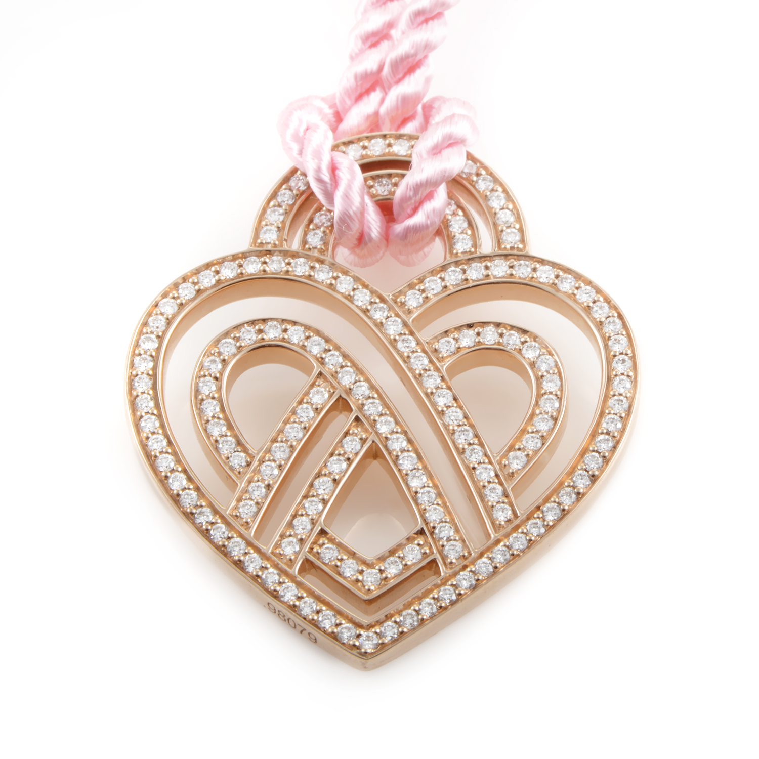 Wire Heart Framework 18K Rose Gold Diamond Pendant & Cord Necklace