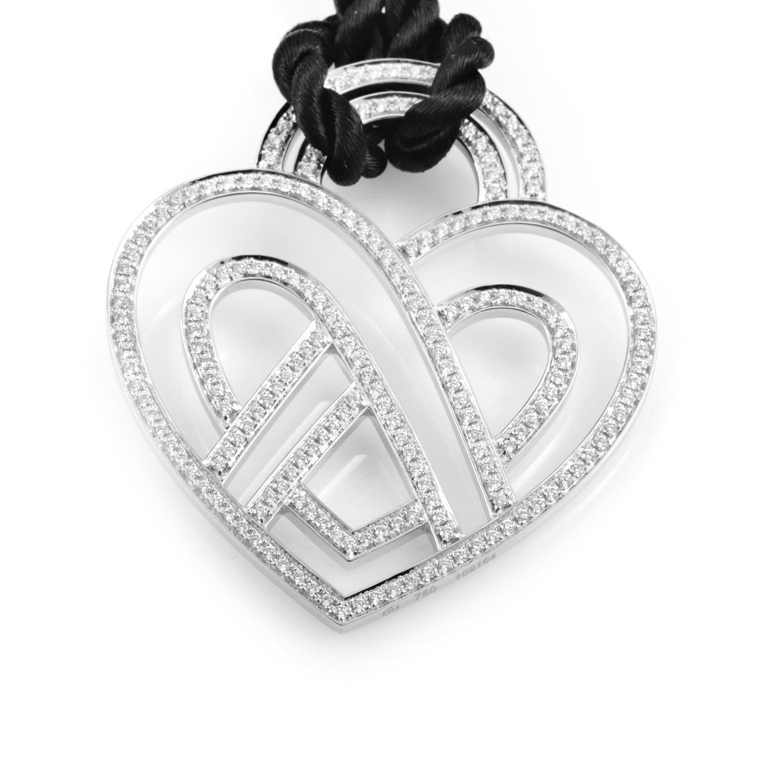 Wire Heart Framework 18K White Gold Diamond Pendant & Cord Necklace