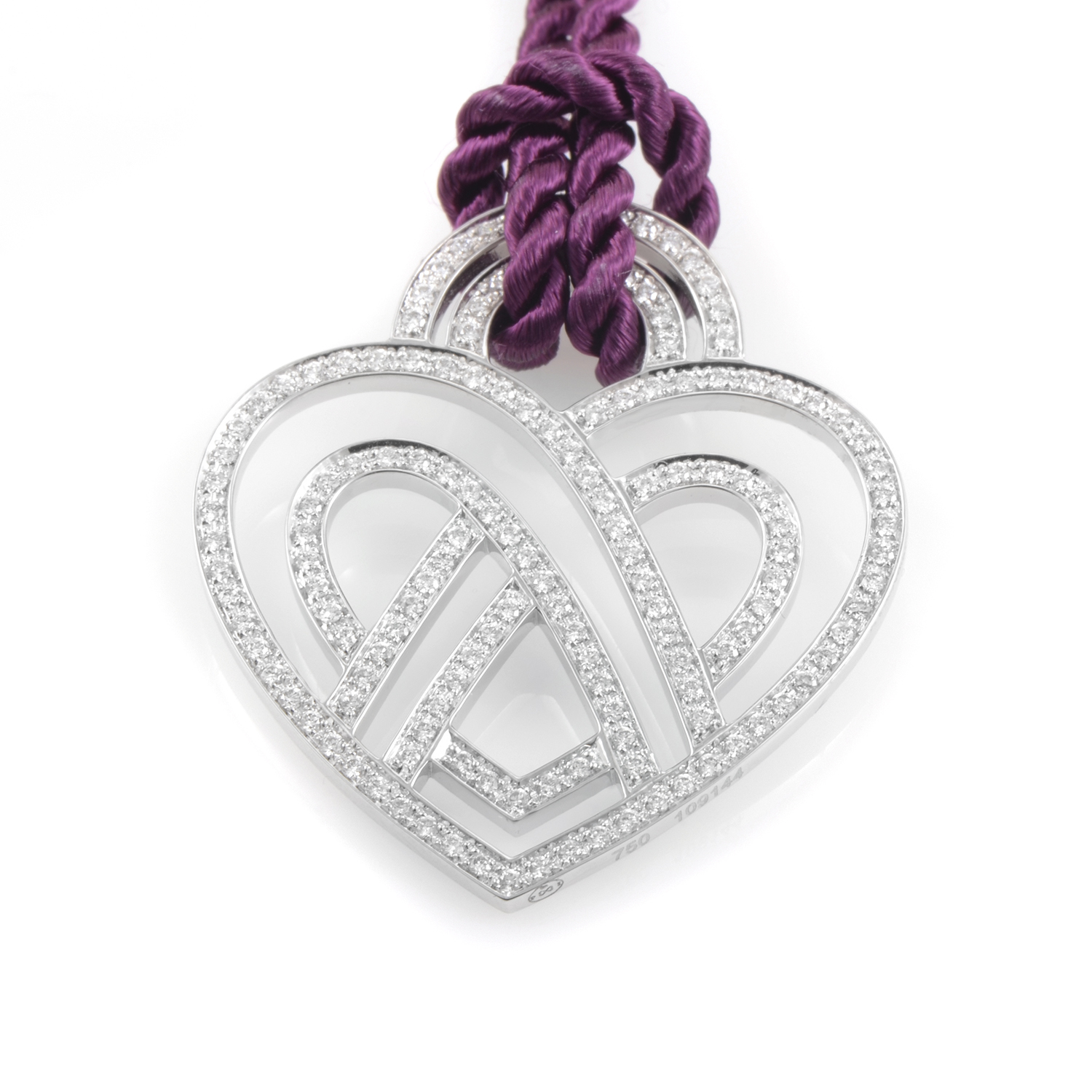 Women's 18K White Gold Diamond Heart Pendant & Cord Necklace PPC8854PUR