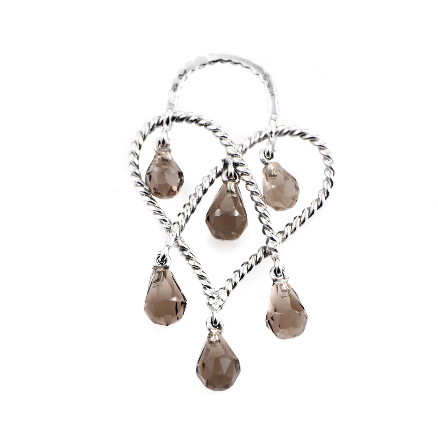 In Love Heart 18K White Gold & Smoky Quartz Briolette Pendant