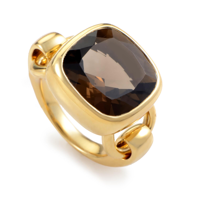18K Yellow Gold Smoky Quartz Ring PPD1010Z