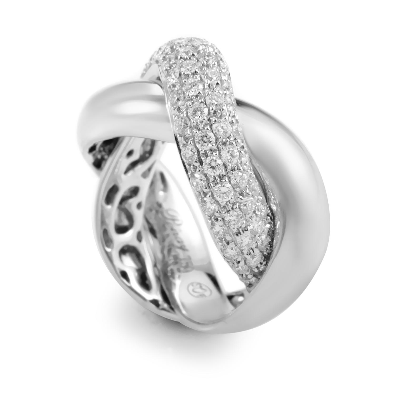 poiray 18k white gold braided ring ppd1110