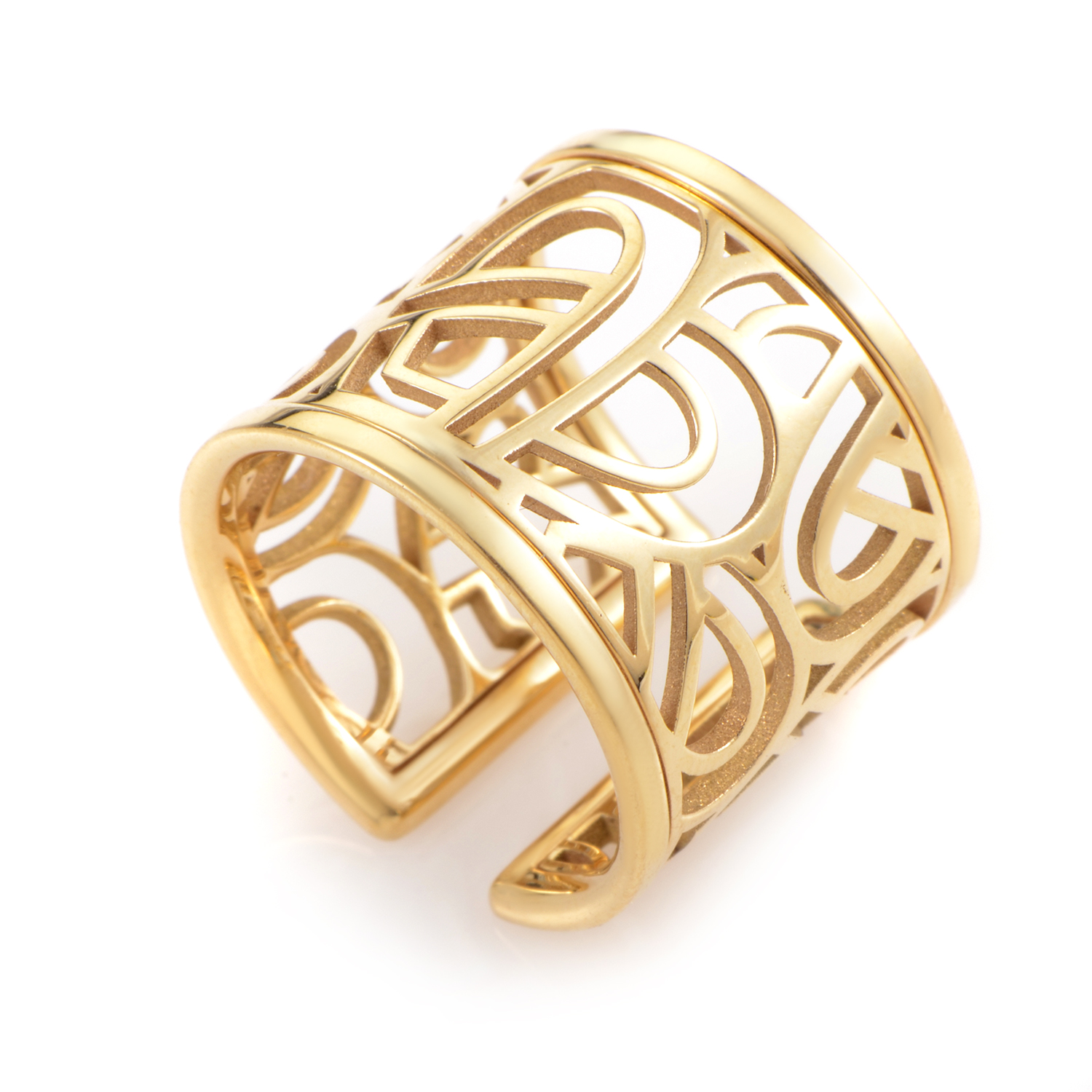 Wire Heart Framework 18K Yellow Gold Band Ring PPD8610