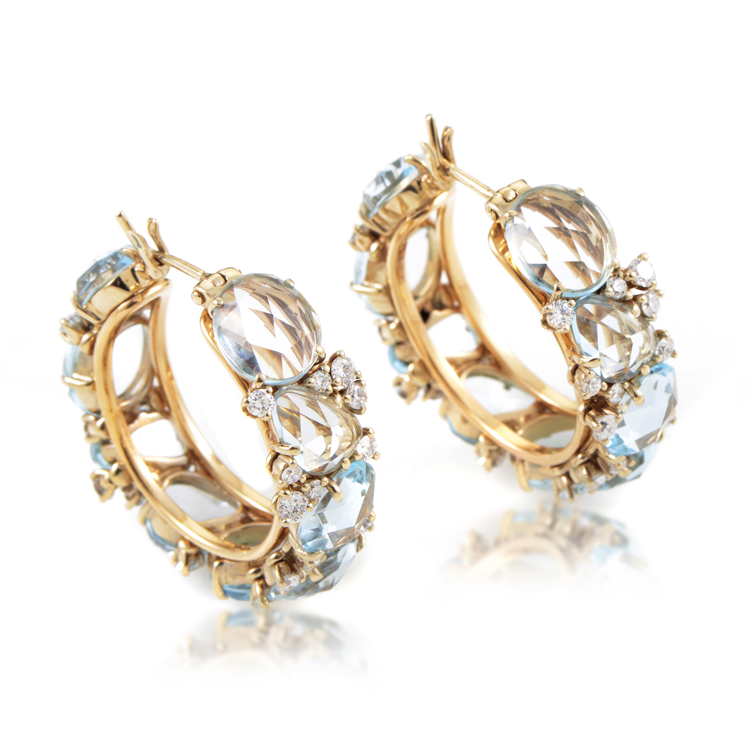 Pomellato Lulõ Women's 18K Yellow Gold Topaz & Diamond Hoop Earrings