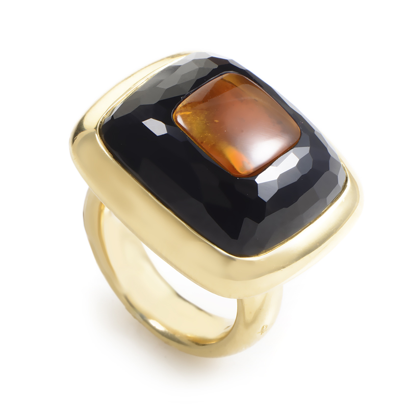 Pomellato Women's 18K Yellow Gold Onyx & Citrine Cocktail Ring