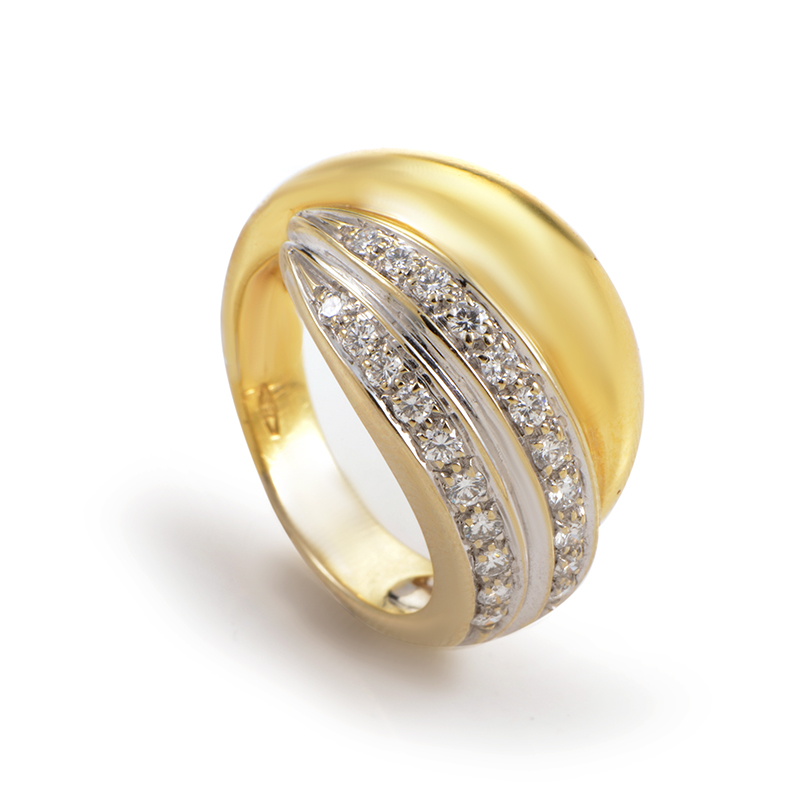 18K Multi-Tone Gold Diamond Band Ring