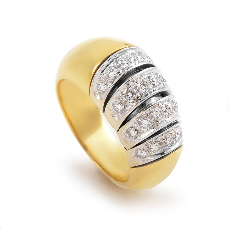 18K Multi-Tone Gold Diamond Band Ring POM26-060315