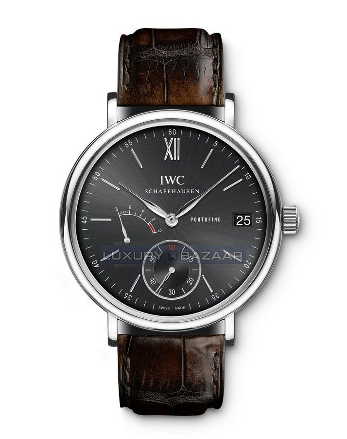 Portofino Hand-Wound Eight Days (SS / Black / Leather Strap)