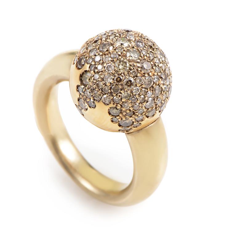 Women's 18K Yellow Gold Diamond Pave Sphere Ring