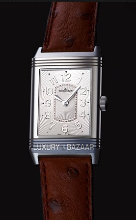 Grande Reverso Lady Ultra Thin (SS / Black / Ostrich Leather Strap)