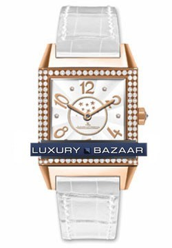 Jaeger LeCoultre Reverso Squadra Lady Duetto (RG-Diamonds /White/ Leather)