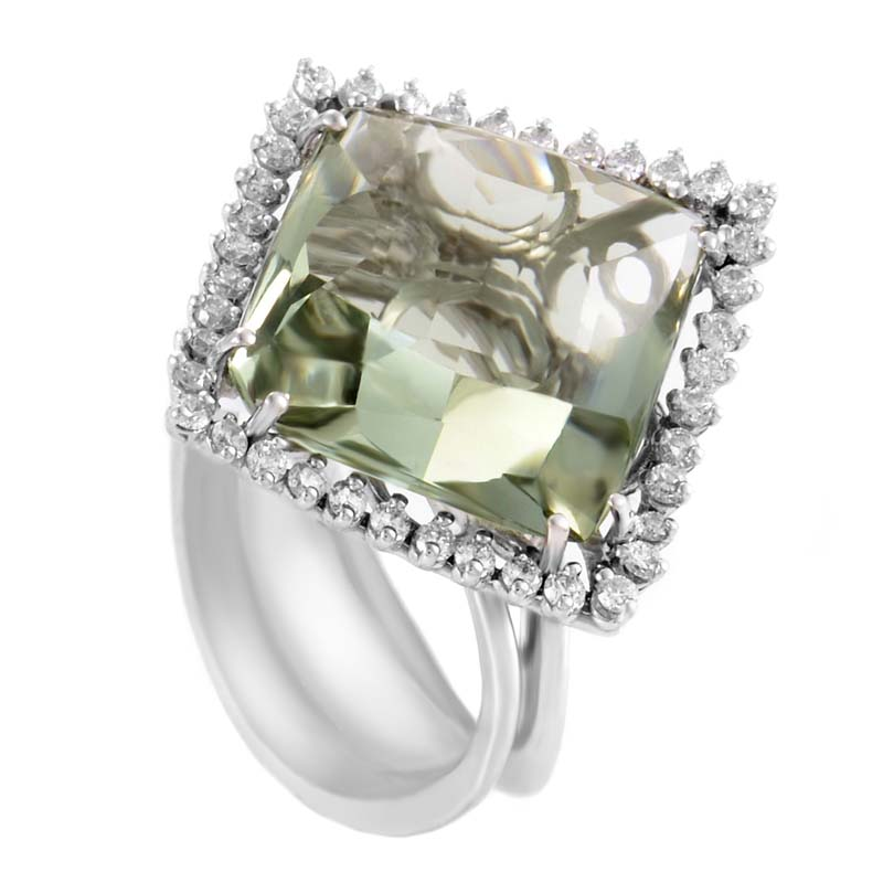 18K White Gold Green Amethyst & Diamond Ring 21373725