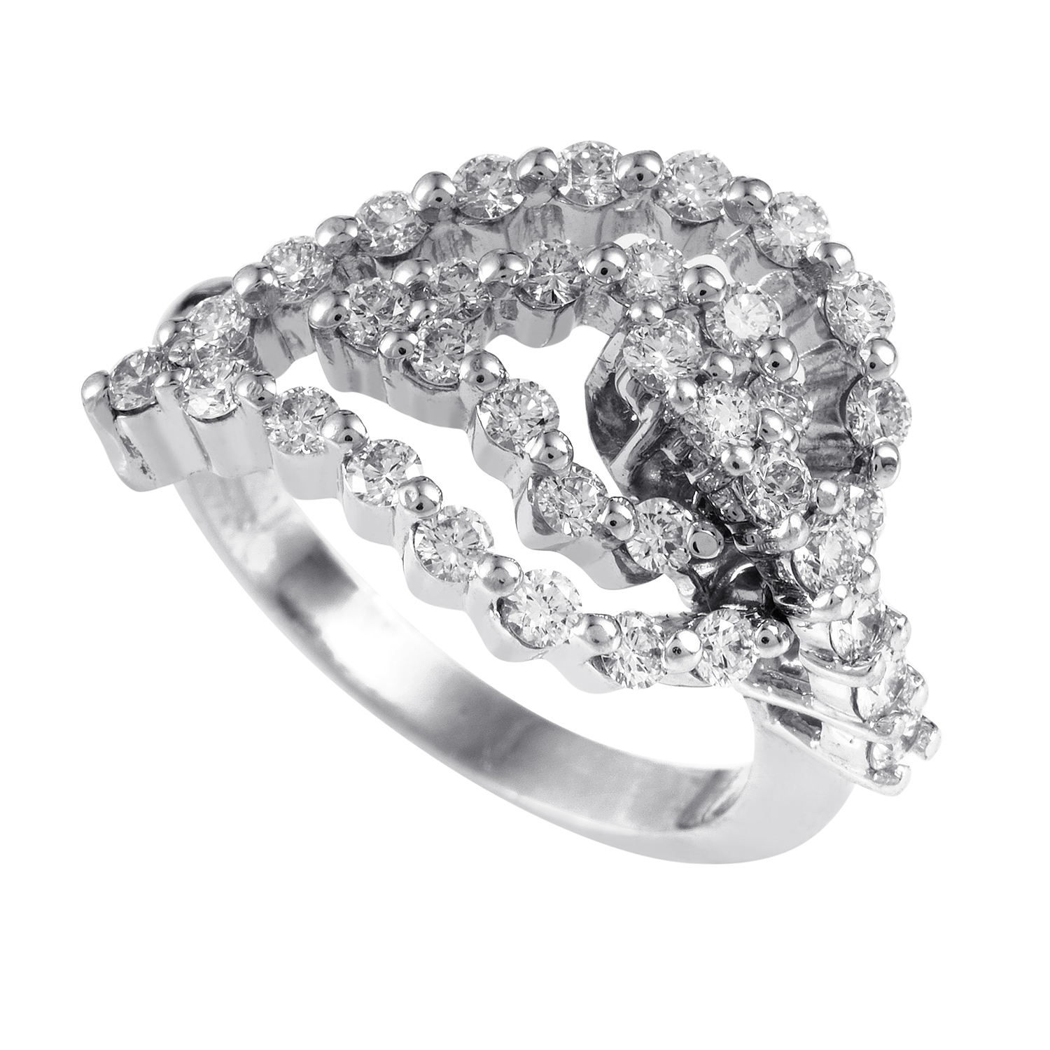 Women's 18K White Gold Diamond Leaf Ring 21832332