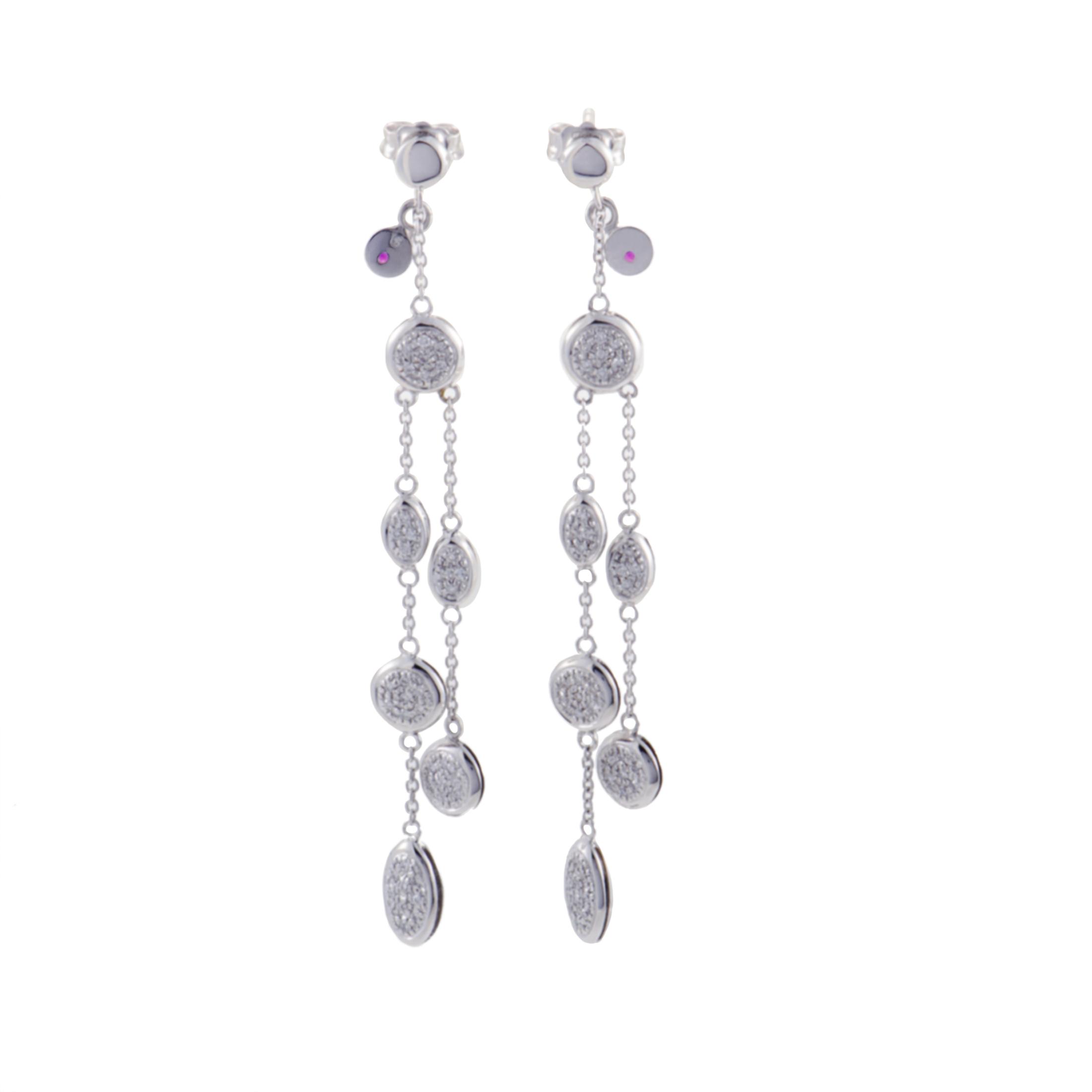 Womens 18K White Gold Dangling Diamond Pave Earrings
