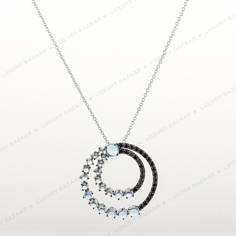 18K White Gold Blue Amethyst Circle Pendant Necklace