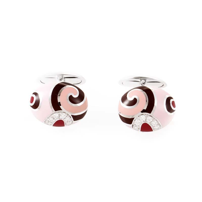 18K White Gold Pink Enamel & Diamond Cufflinks 0081039