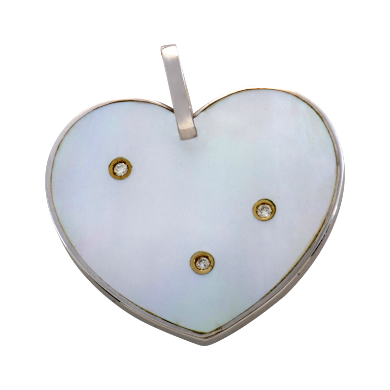 18K White Gold Mother of Pearl Diamond Heart Pendant