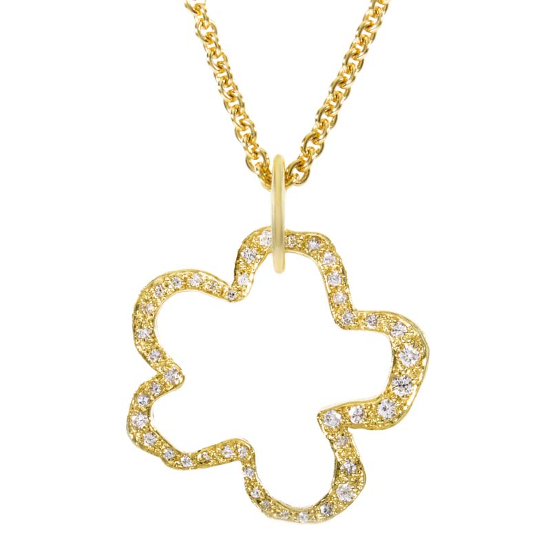 18K Yellow Gold & Diamond Flower Pendant Necklace NK8-084365