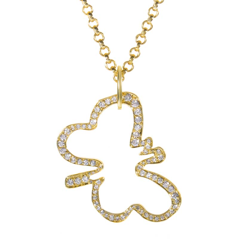 18K Yellow Gold & Diamond Butterfly Pendant Necklace
