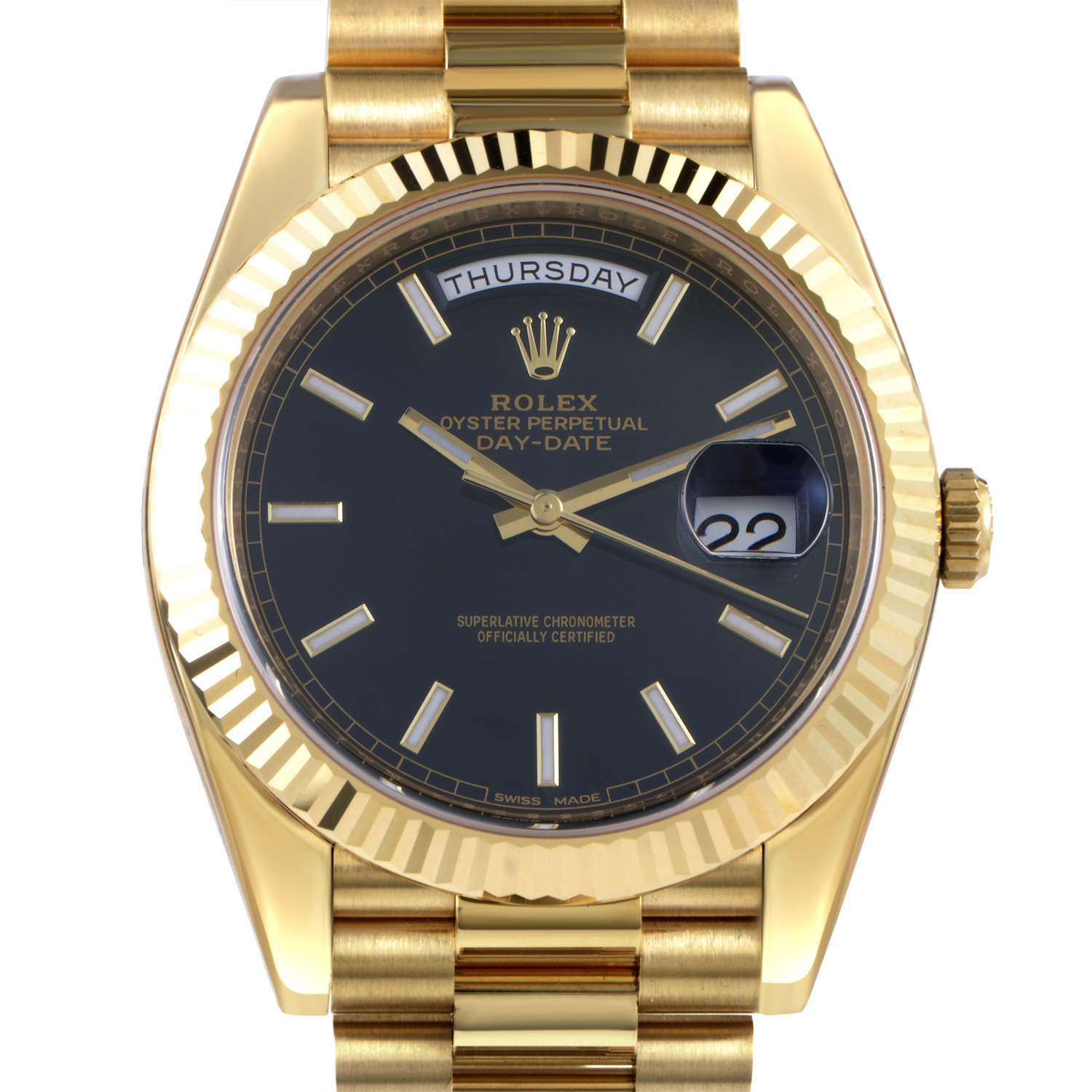 Oyster Perpetual Day-Date 40 Mens Yellow Gold Watch 228238