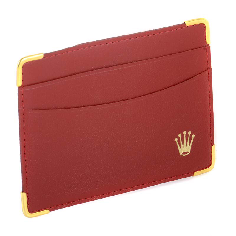 Vintage Red Leather Wallet Gold Accents
