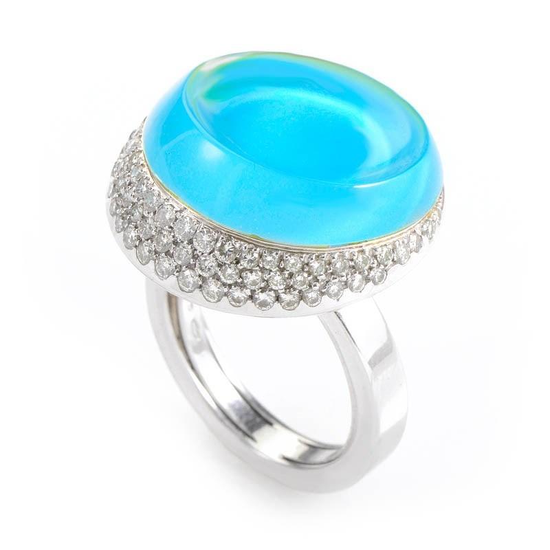 18K White Gold Topaz & Diamond Ring RPOR-101312