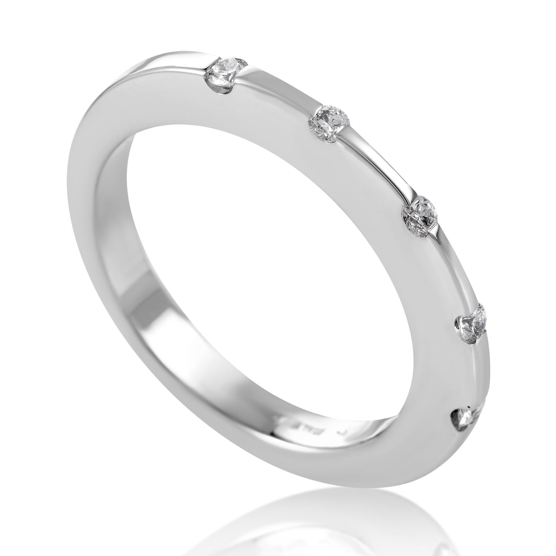 Womens 18K White Gold 5 Diamond Band Ring 0191134W