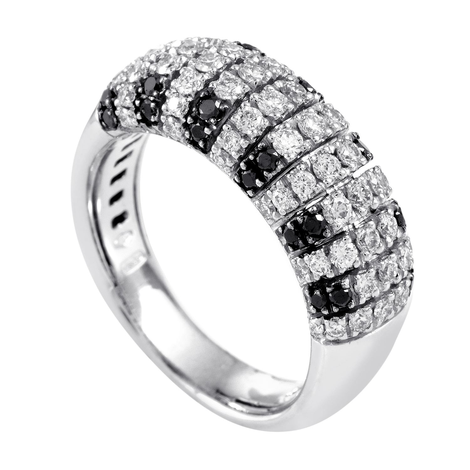 Women's 18K White Gold Black & White Diamond Band Ring